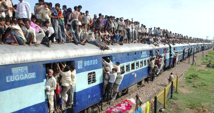 インドの鉄道(普通はここまで人はのってないよw)